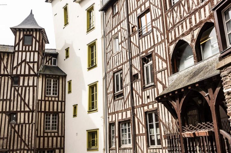 les maisons à colombage de la rue de la Motte Fablet, à Rennes